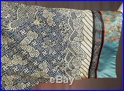 Antique Chinese Longpao Dragon Robe Surcoat Woven Gold Blue Silk Brocade Vintage