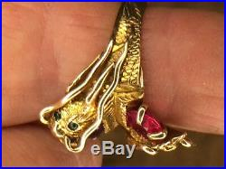 Antique Chinese M Nosey Double Dragon Ring, Purple and Pink Spinels, 14 K Gold