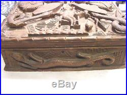 Antique Chinese Masonic Craved Wooden Box Dragons Gods And Snake