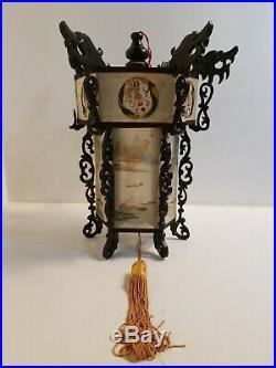 Antique Chinese Palace Hanging Lantern Lamp Frame Dragons reverse painted panels
