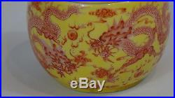 Antique Chinese Porcelain 5 Five-clawed Dragons Amid Fire Symbols, Pearls Tea Jar