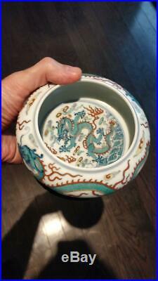 Antique Chinese Porcelain Doucai Dragon Brush Washer Marked with Wood Base