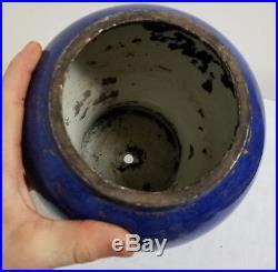 Antique Chinese Powder Blue Dragon Koi Fish Kangxi Style Drilled Lamp As Is