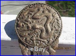 Antique Chinese Qilong Dragon Jade Belt Hook On Copper Mirror