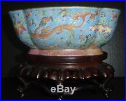 Antique Chinese Qing Daoguang Nian Zhi Mark Famille Rose Bowl Chilong Dragons