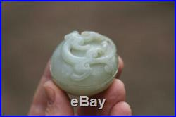 Antique Chinese Qing Dynasty (1644-1912) Pale Celadon Jade Chilong Dragon Box