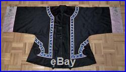 Antique Chinese Qing Dynasty Dragons Woven & Embordered Satin Silk Sumer Robe