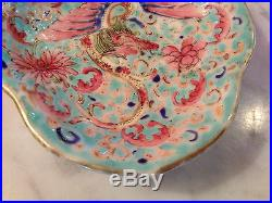Antique Chinese Qing Dynasty Signed Porcelain Tazza with Dragon Phoenix & Bats
