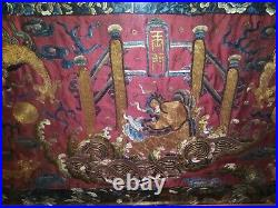 Antique Chinese Qing Gold Thread Silk Robe Embroidery Fragment Dragons