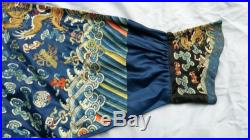 Antique Chinese Qing Imperial Court Embroidered 5 Claw Dragon Silk Summer Robe