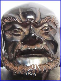 Antique Chinese Republic carved Cherry Amber Bakelite Wise Man Dragon Figurine