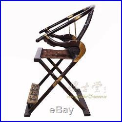 Antique Chinese Rosewood Horseshoe Back Folding Chair 18LP10