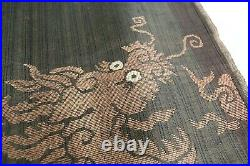 Antique Chinese Silk Dragon Embroidery Panel Tapestry Vintage Chinese Fabric