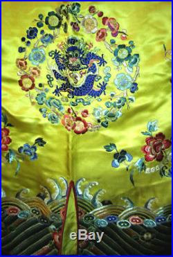 Antique Chinese Silk Dragon Robe Embroidery Embroidered Coat Bats Perfect Rare