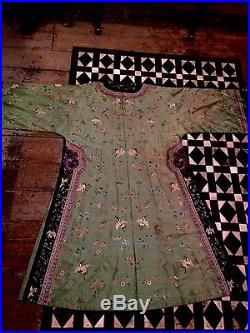 Antique Chinese Silk Embroidered Cranes Dragon Informal Robe