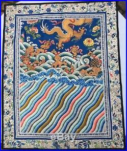 Antique Chinese Silk Embroidered Dragon Robe Section Gold Thread Blue Silk