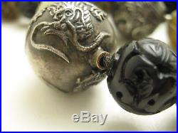 Antique Chinese Silver Hand Carved Multi Stone Shou Bead Necklace Dragons