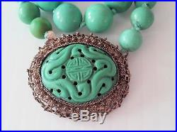 Antique Chinese Silver Plated Filigree Carved Turquoise Dragon Necklace 70 Grams