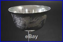 Antique Chinese Silver Wine Goblet Dragon & Pearl Hand Engraved