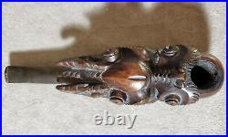 Antique Chinese Smoking Pipe Hand Carved Wood Oriental Dragon Head Tobacco