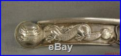 Antique Chinese Sterling Silver Dragon Bosun's Boatswain's Pipe, Call, Whistle