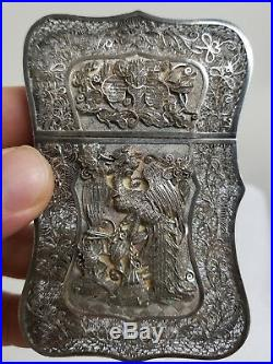 Antique Chinese Sterling Silver Filigree Card Case Dragon Phoenix