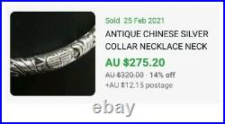 Antique Chinese Sterling Silver Neck Ring Collar Necklace Dragon Design