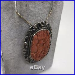 Antique Chinese Sung silver export red dragon clouds clip brooch pendant signed