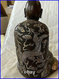 Antique Chinese/Tibetan Bronze &Gilt Statue of a Monk, Elaborate Dragon Robe 6x4