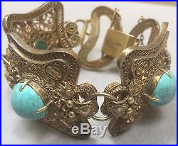 Antique Chinese Turquoise Filigree Silver Dragon Bracelet 6 3/4 Inches