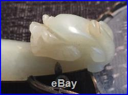 Antique Chinese White Jade Dragon Belt BUCKLE Hook Magnifier Very Old Rare