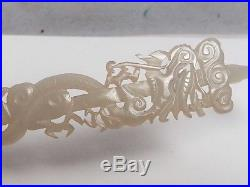 Antique Chinese White Jade Handsculpted Hairpin, Dragon Motif, 9 25 Long, Ex Cond