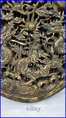 Antique Chinese Wood Carved Plaque Panel Dragons Pearl