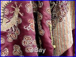 Antique Chinese Woven Silk Brocade Dragon Court Robe 9 Dragons 19th Century
