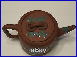 Antique Chinese Yixing Teapot Enameled Dragon Design Marked No Reserve