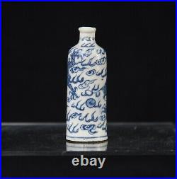 Antique Chinese blue and white Porcelain dragon snuff bottle kangxi mark