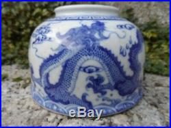 Antique Chinese blue & white water pot with dragon marks 19th c Qing porcelain