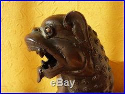 Antique Chinese bronze dragon dog incense burner statue c 1900 -1910