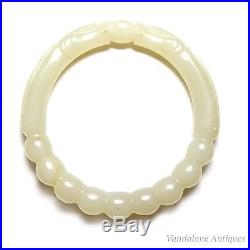 Antique Chinese carved natural jade dragon pearl bangle Qing Dynasty 19th C