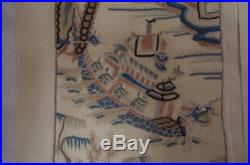 Antique Chinese embroidered silk panel- Forbidden stitch, Dragon Boats RARE