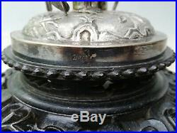 Antique Chinese export silver mother-of-pearl dragon centrepiece Yung Lei c. 1905