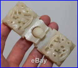 Antique Chinese jadeite dragon belt buckle, mythical beasts, Qing Dynasty FINE