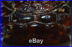 Antique Chinese natural carved amber snuff bottle with 2dragon, Qing/Ming dynast