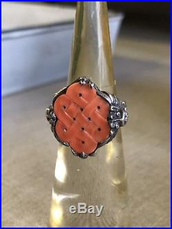 Antique Chinese or Tibetan Carved Coral Mystic Eternity Knot Silver Dragon Ring