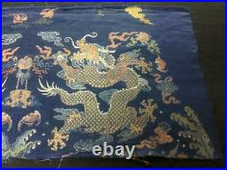 Antique Chinese robe's silk embroidered 5-claw dragon panel, 1700s