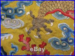 Antique Chinese yellow silk Imperial robe fragment 5 toe dragon sacrificial cups
