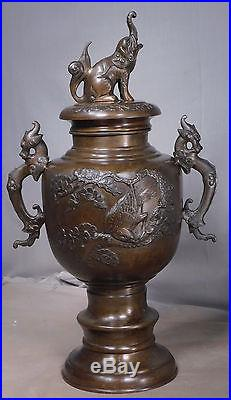 Antique Early 1900s BIG Chinese Bronze Urn Lid Elephant Dragon Birds Sculpture