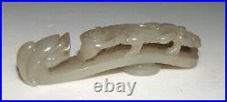 Antique Early Chinese Dynasty Hand Carved Jade Belt Buckle Dragon, Footed Animal
