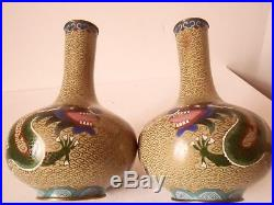 Antique Fine Pair of Chinese Cloisonne Vases & Urn And Cover Dragons