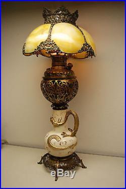 Antique Gwtw Old Victorian Slag Glass Chinese Japanese Dragon Oil Kerosene Lamp
